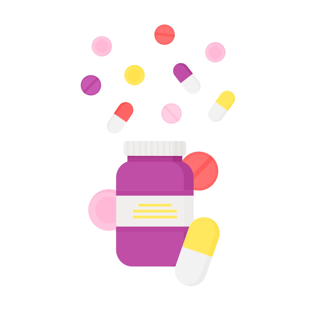 Vector illustration of medicine container with pills in different shapes scattered around in flat design style