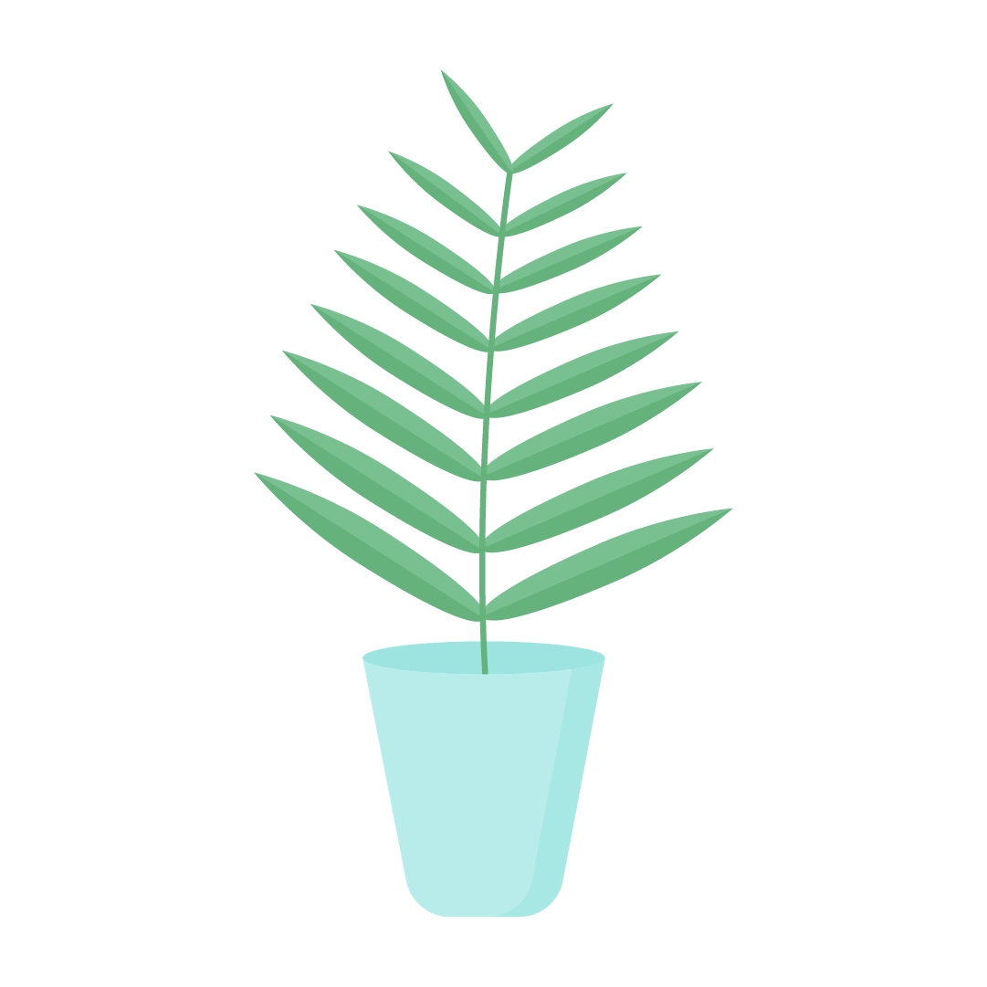 Vector illustration of Areca Palm leaf in a pot in flat design style