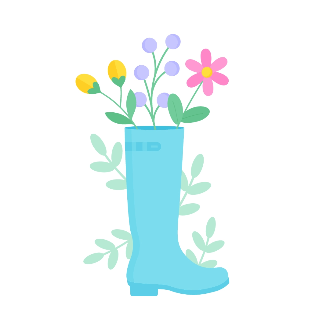 Vector illustration of a blue wellington boot with wildflowers inside of it in flat design style