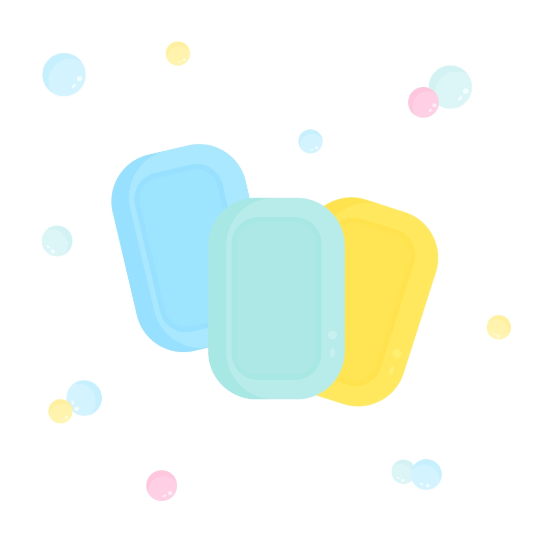 Vector illustration of soap bars with bubbles in flat design style