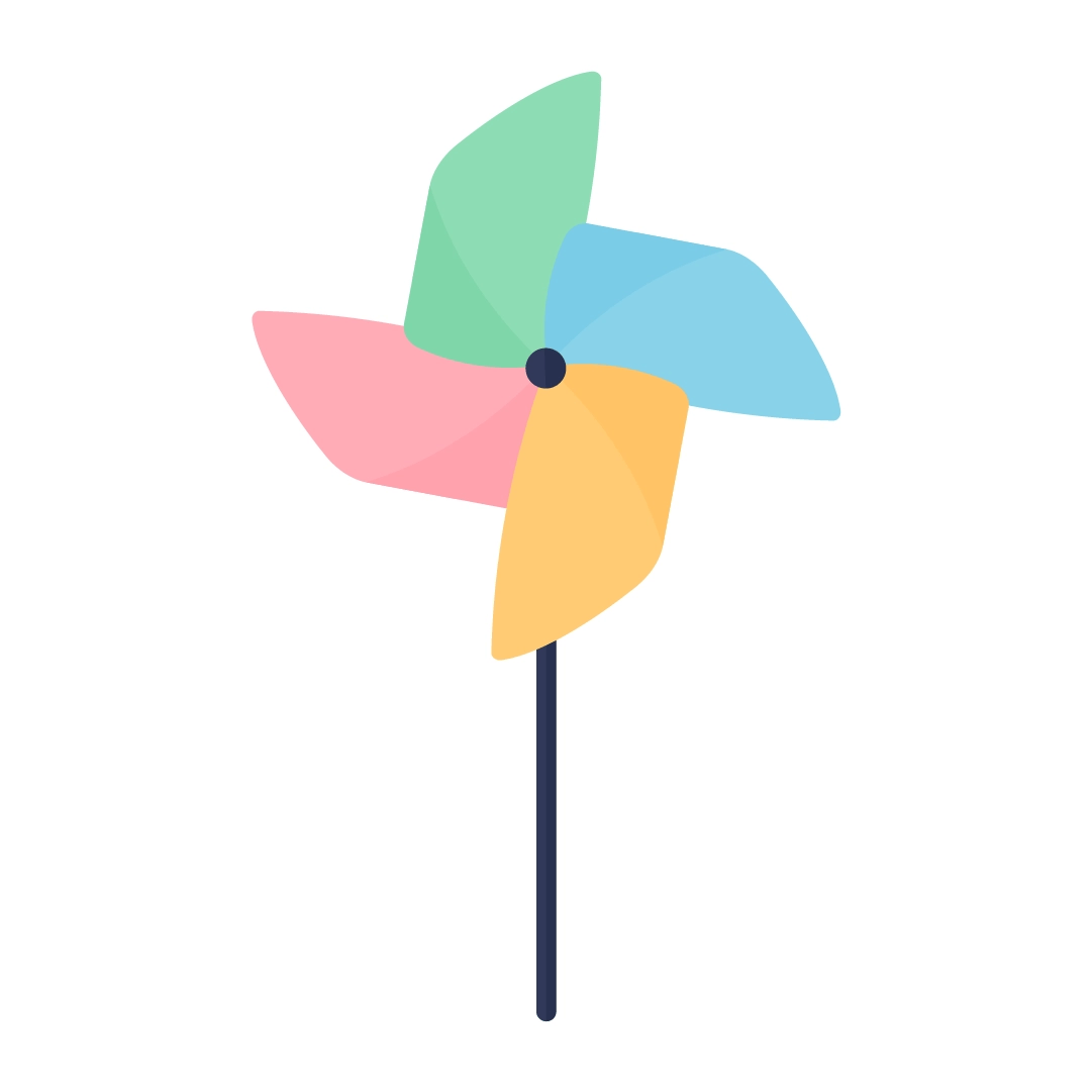 Vector illustration of a colourful paper pinwheel in flat design style