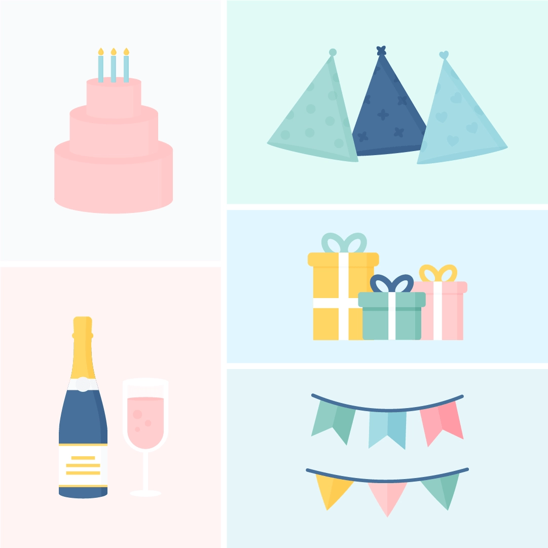 Vector illustration of birthday elements set in a grid: a three-tier cake with candles, champagne with glass, party hats, gifts & pennants (swallowtail & triangular) in flat design style
