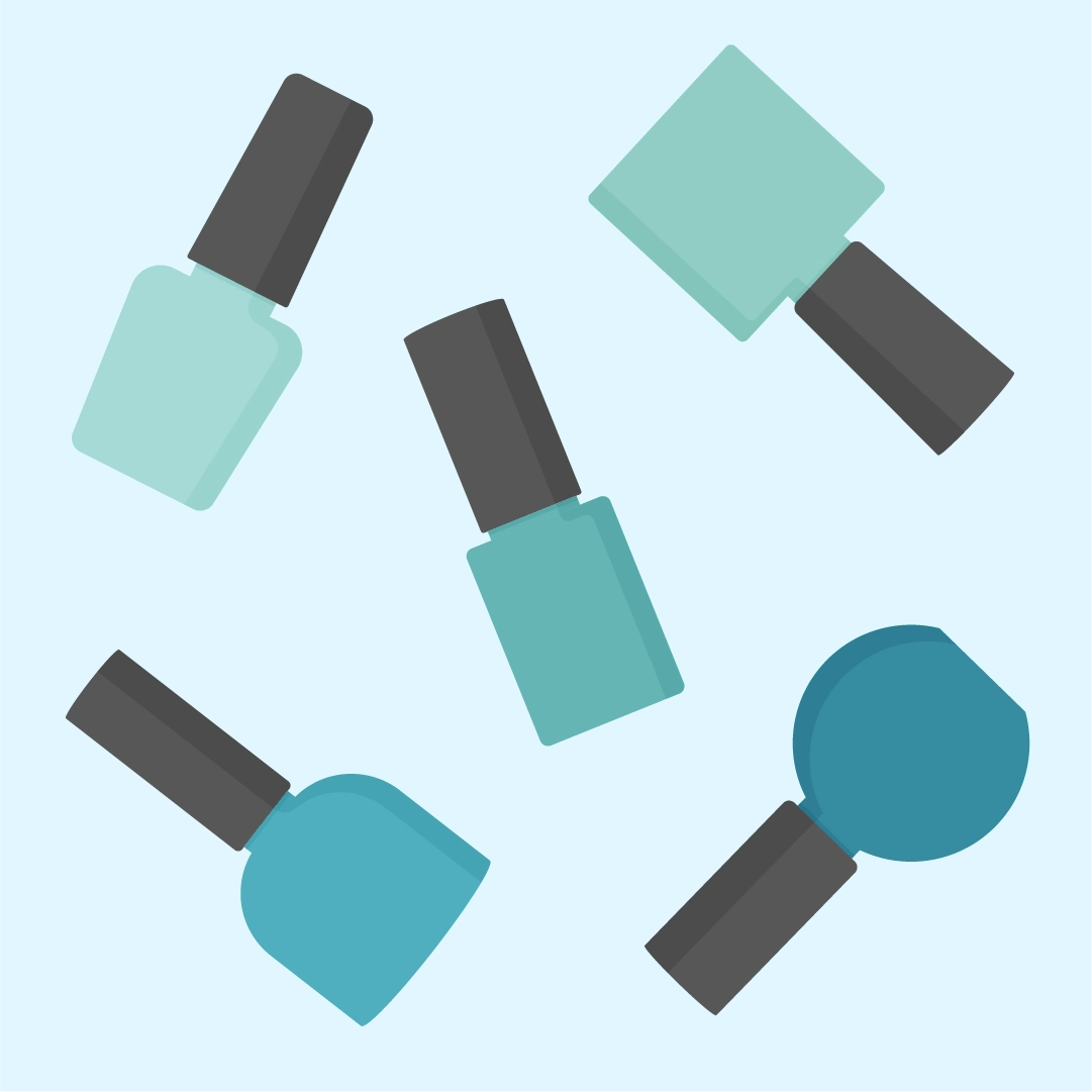 Vector illustration of a nail polish pattern design with teal nail polish scattered around in flat design style