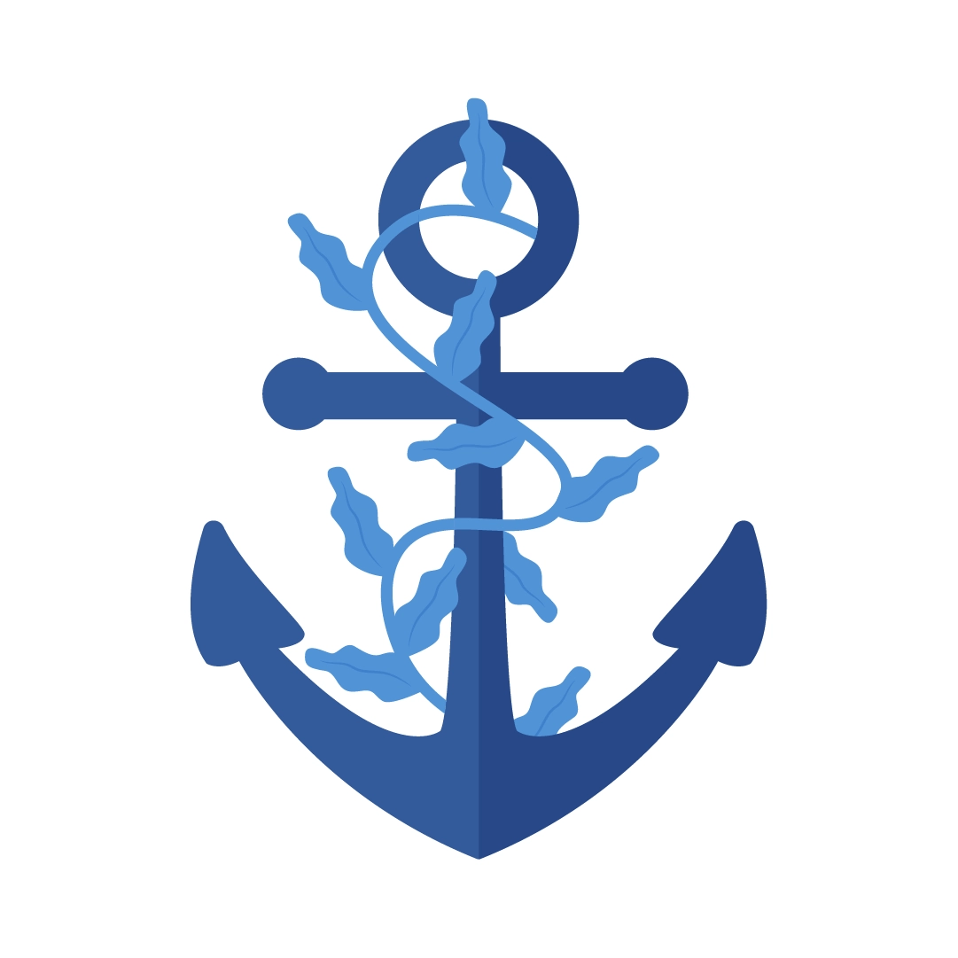 Vector illustration of an anchor with seaweed in flat design style