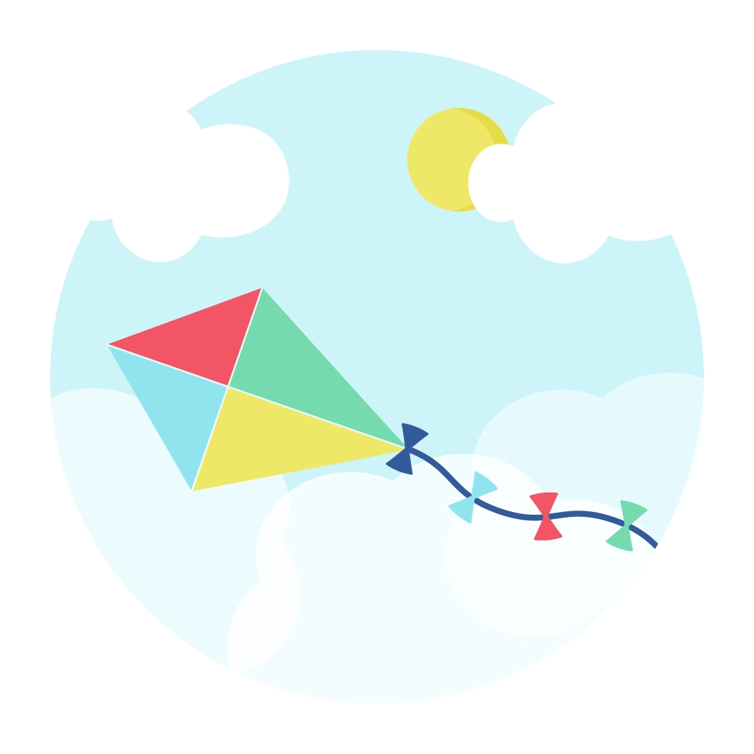 Vector illustration of a kite in the clouds scene in flat design style