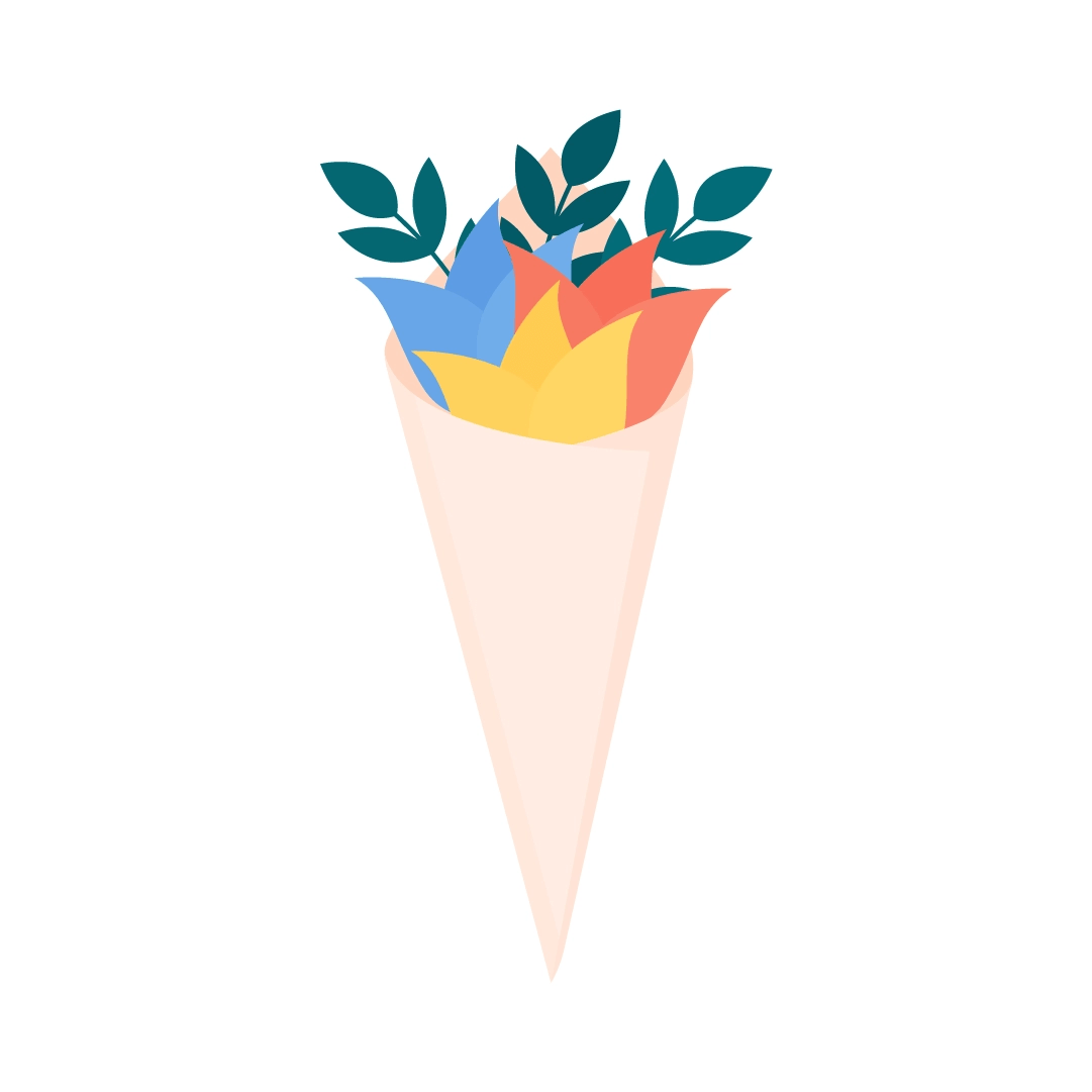 Vector illustration of a flower cone in flat design style