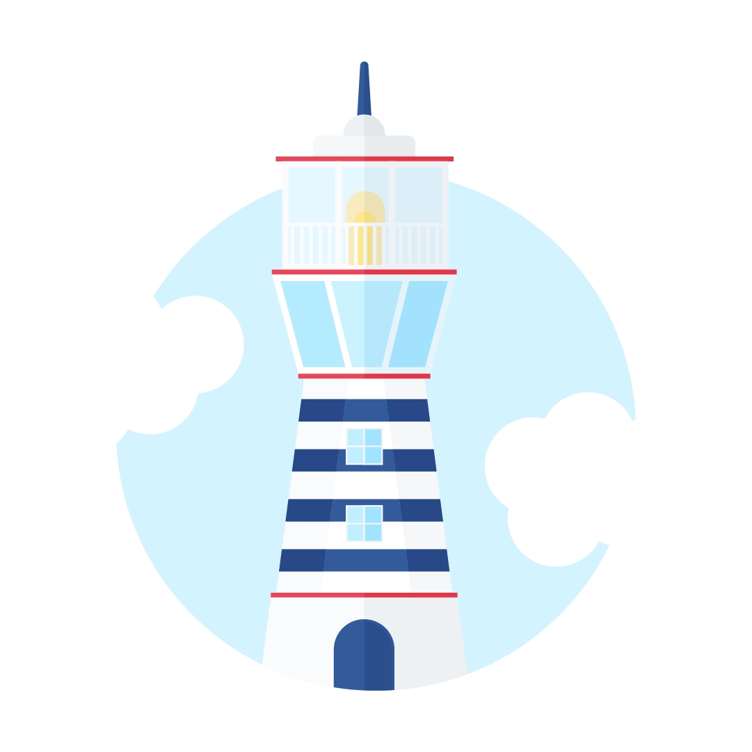 Vector illustration of an old lighthouse scene with clouds in flat design style