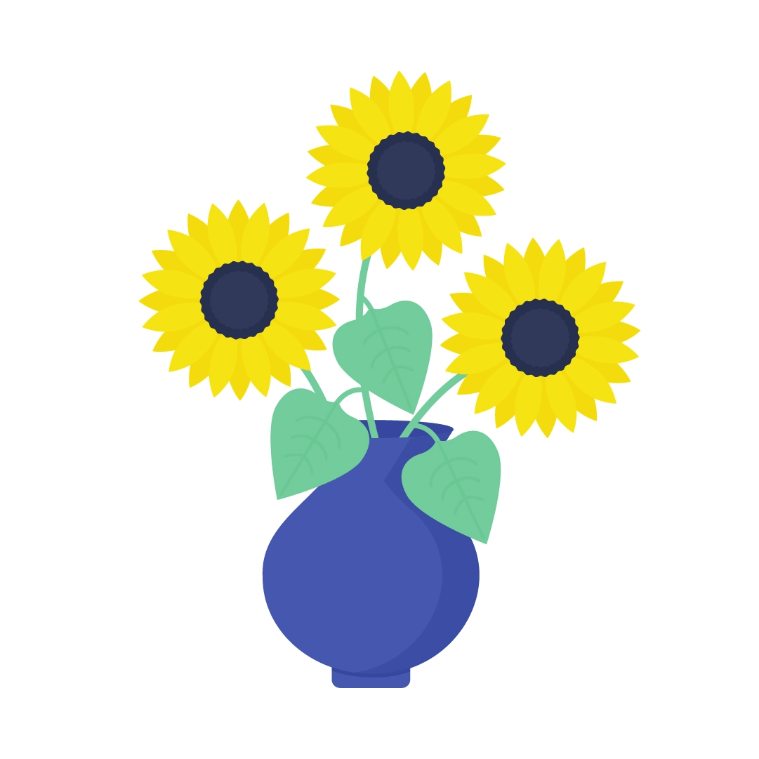 Vector illustration of sunflowers in a vase in flat design style