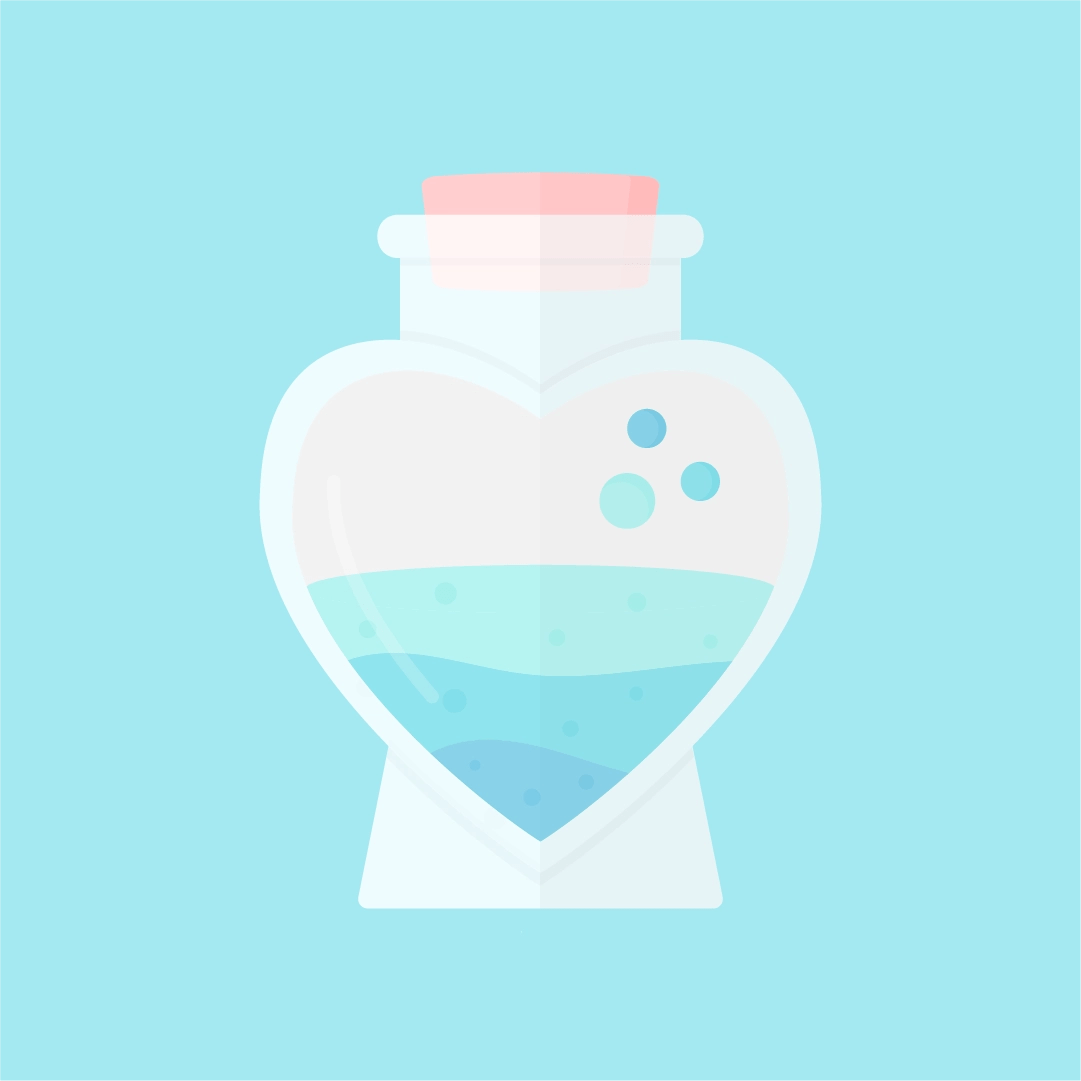 Vector illustration of love potion in a heart-shaped bottle in flat design style