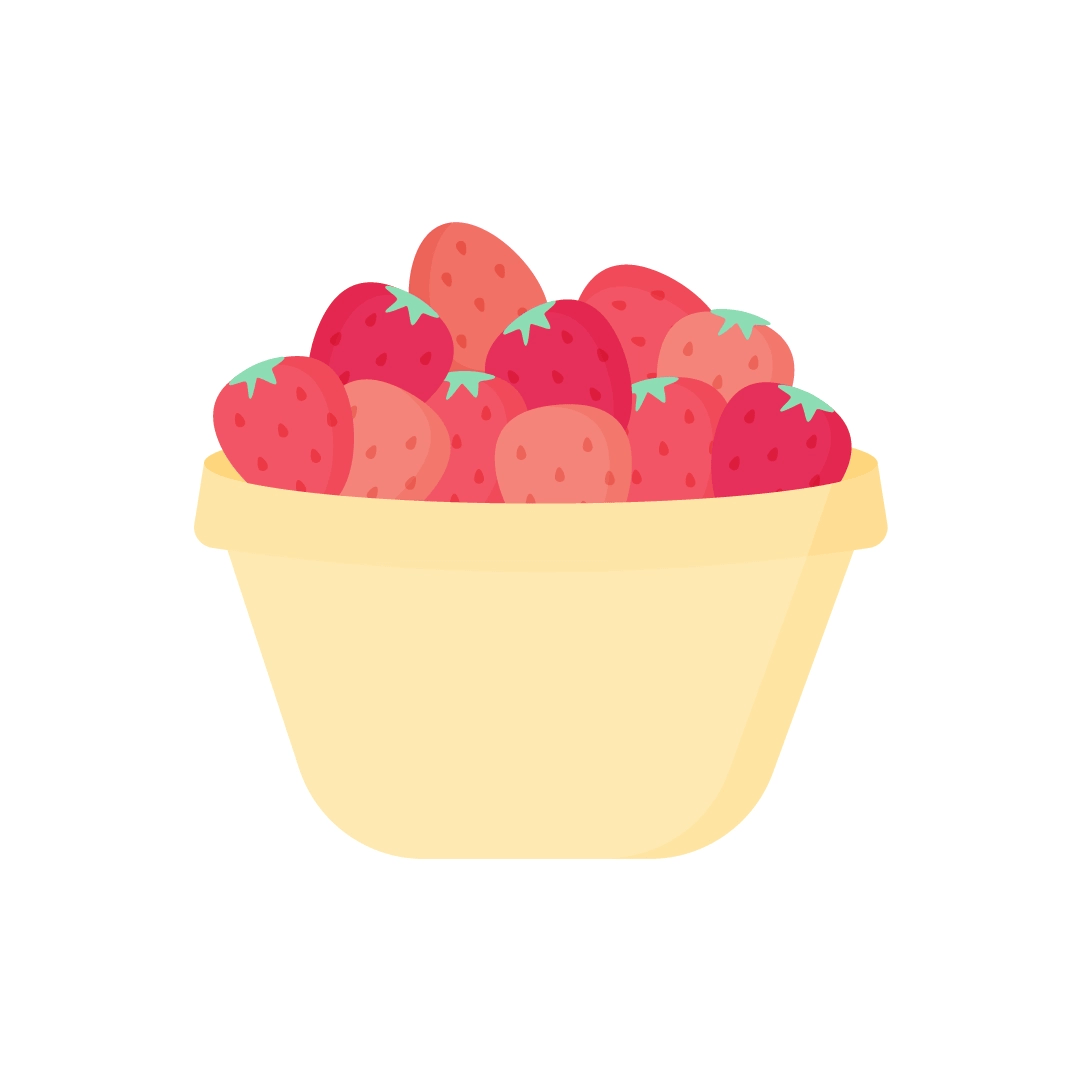 Vector illustration of strawberries in a yellow pudding bowl in flat design style