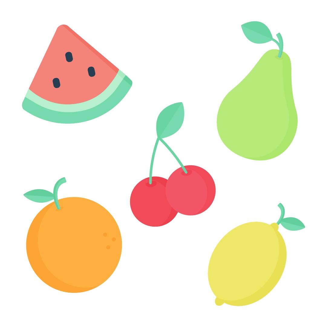 Vector illustration of fruits: watermelon slice, cherry, pear, orange & lemon in flat design style