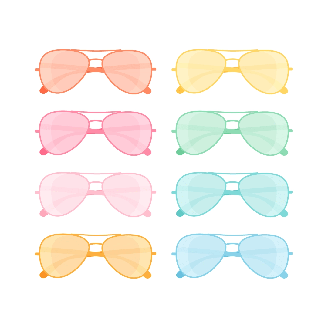 Vector illustration of 8 Aviator sunglasses collection in summer colours in flat design style