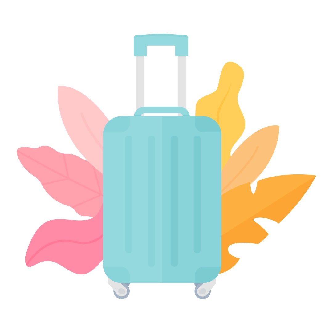 Vector illustration of a blue suitcase with pink & yellow foliage in flat design style
