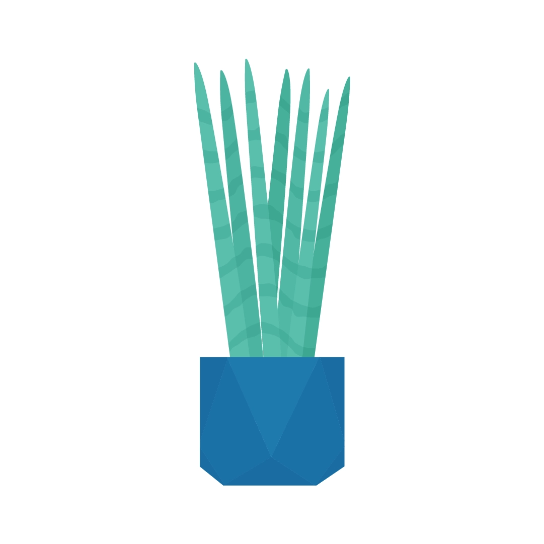Vector illustration of a Dracaena Angolensis - sansevieria cylindrica plant in a geometric pot in flat design style