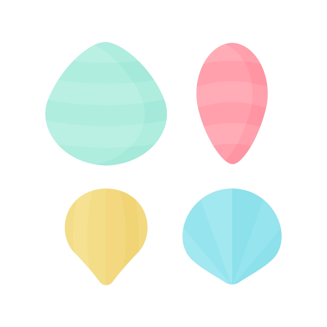 Vector illustration of collection of striped seashells: green, pink, yellow & blue in flat design style