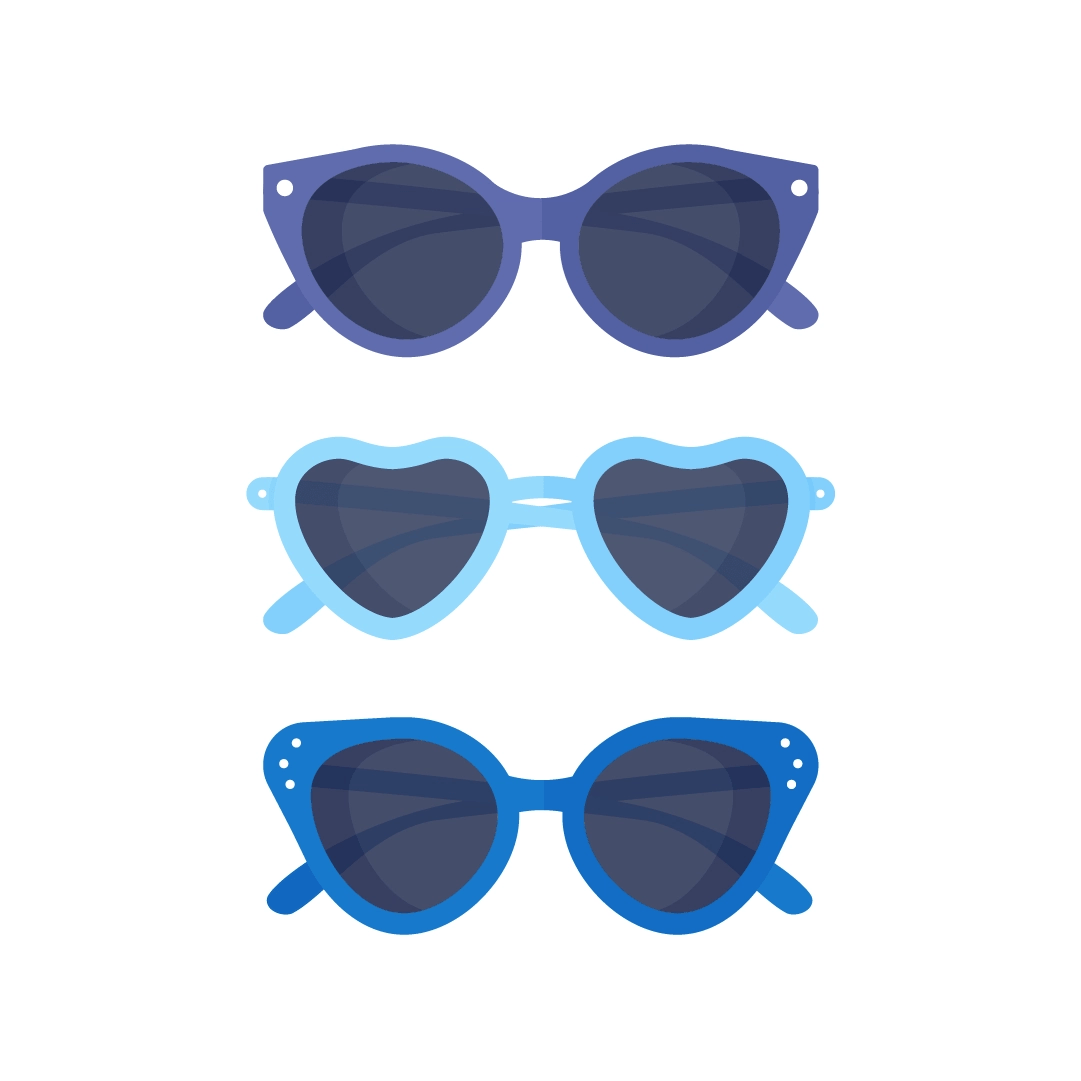 Vector illustration of a set of three blue sunglasses in flat design style