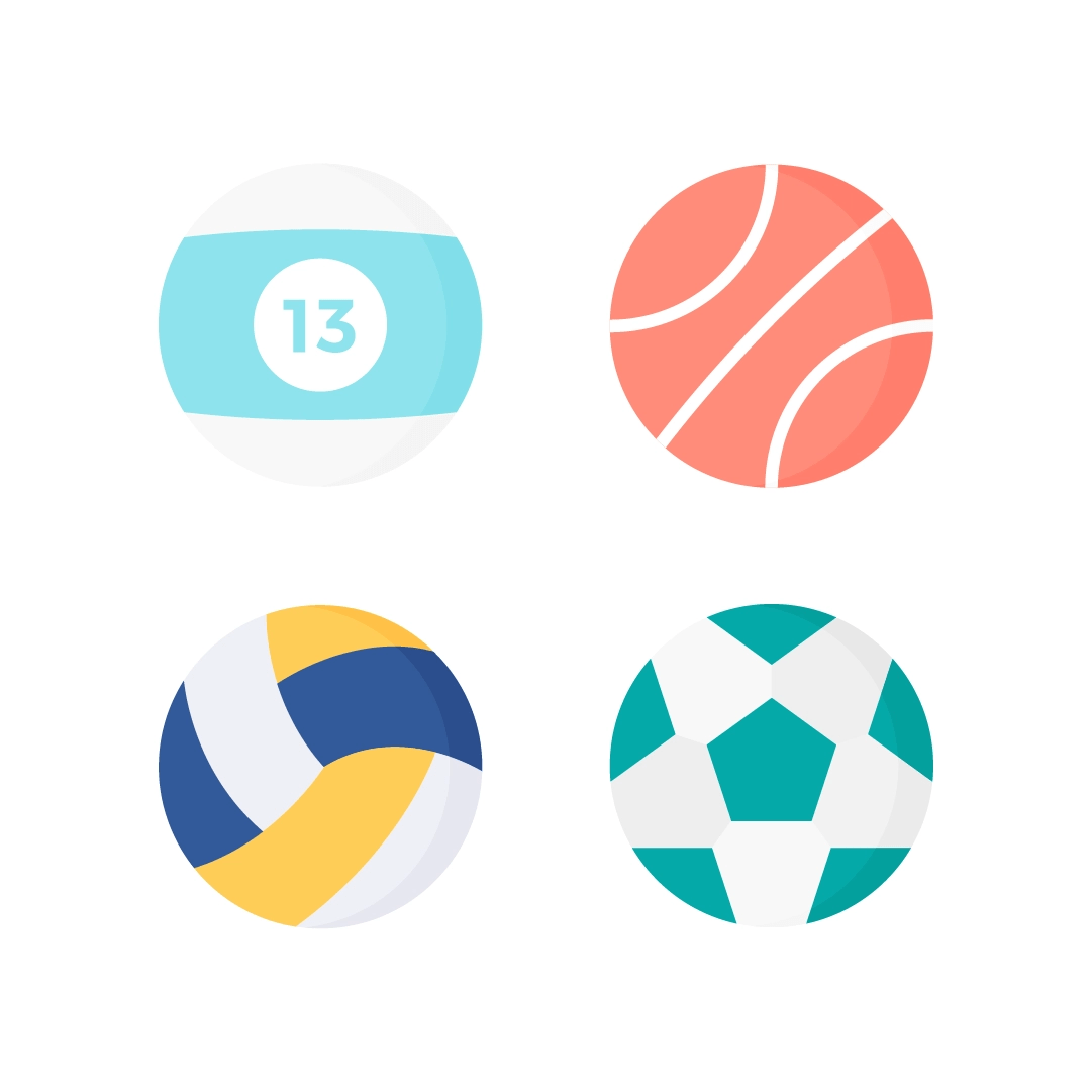 Vector illustration of sports balls: number 13 pool ball, basketball, volleyball & football in flat design style