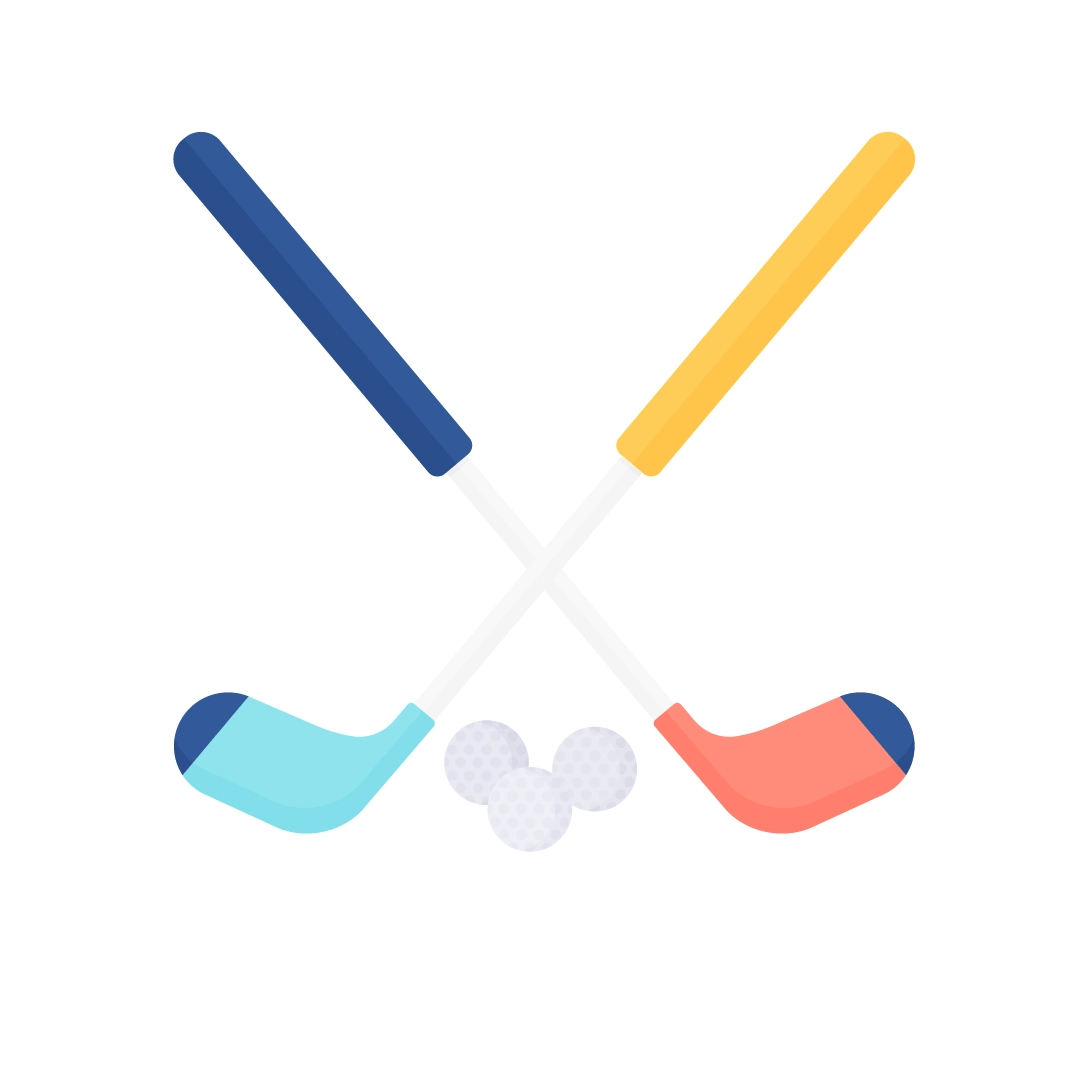 Vector illustration of golf clubs with balls in flat design style