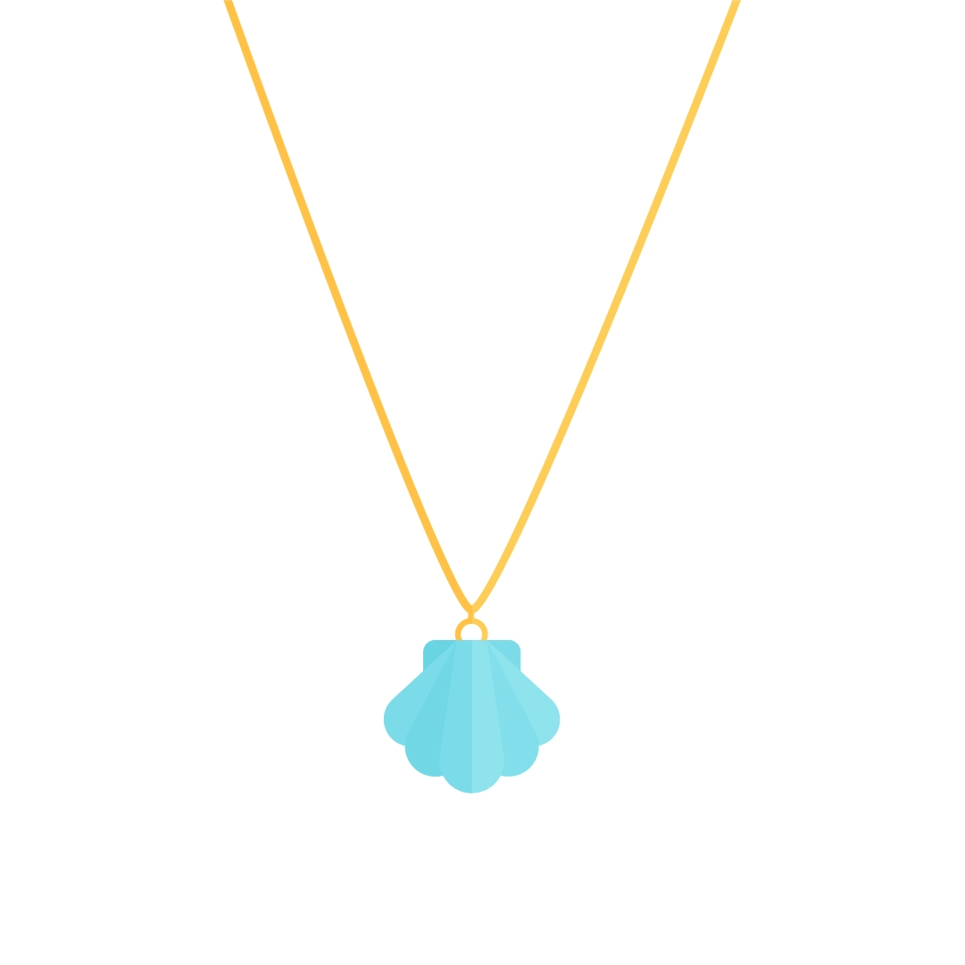Vector illustration of a seashell necklace in flat design style