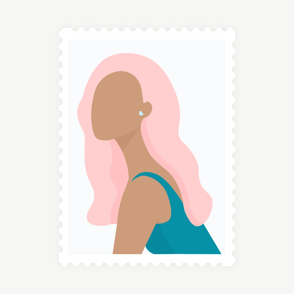 Flat illustration of stamp: side view portrait of a woman with light pink hair