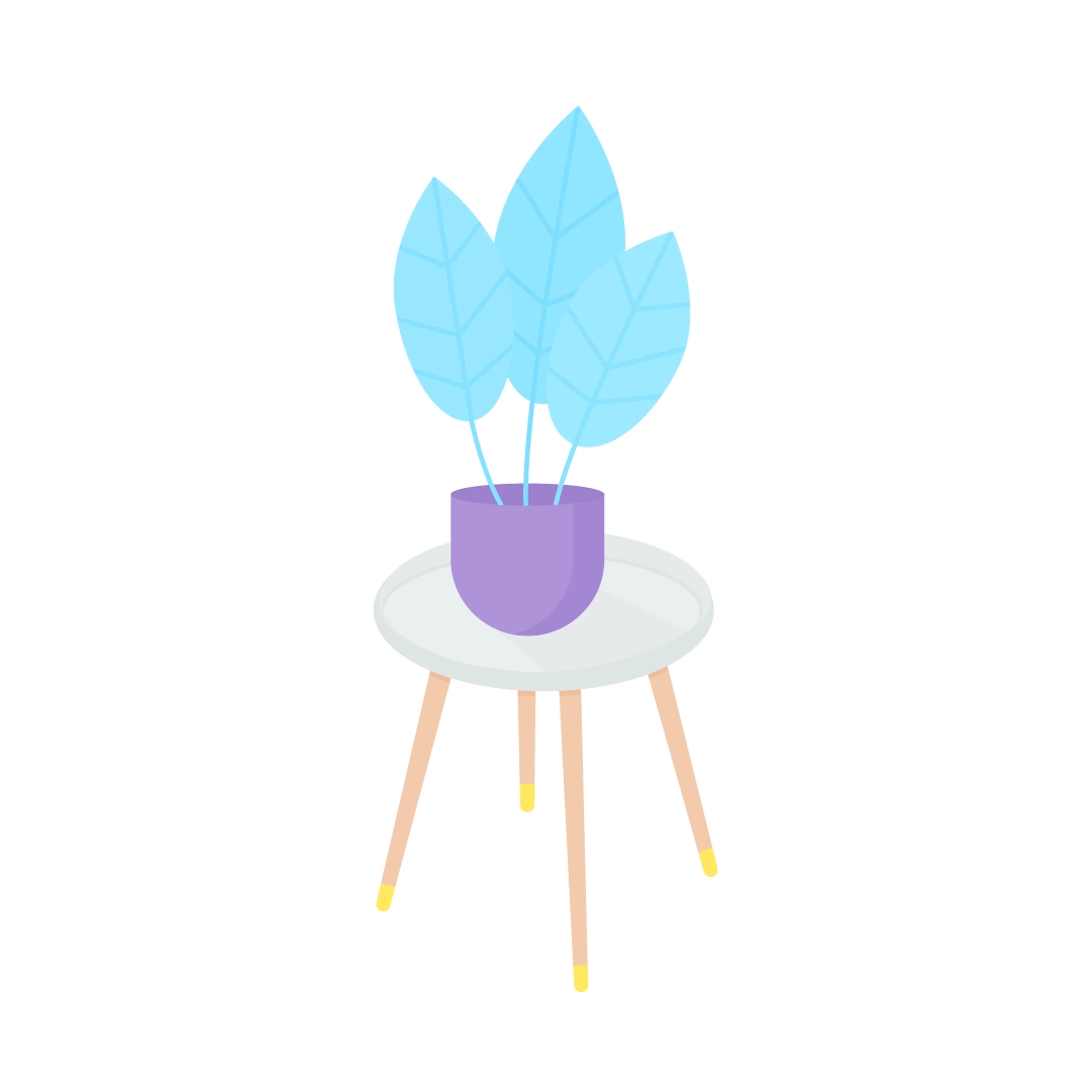 Vector illustration of a white pine wood legs side table with a blue plant in a purple pot in flat design style
