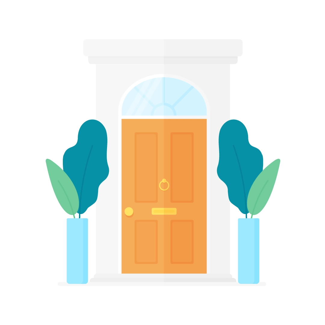 Vector illustration of an orange Victorian style (UK) front doors with two potted plants in the front in flat design style