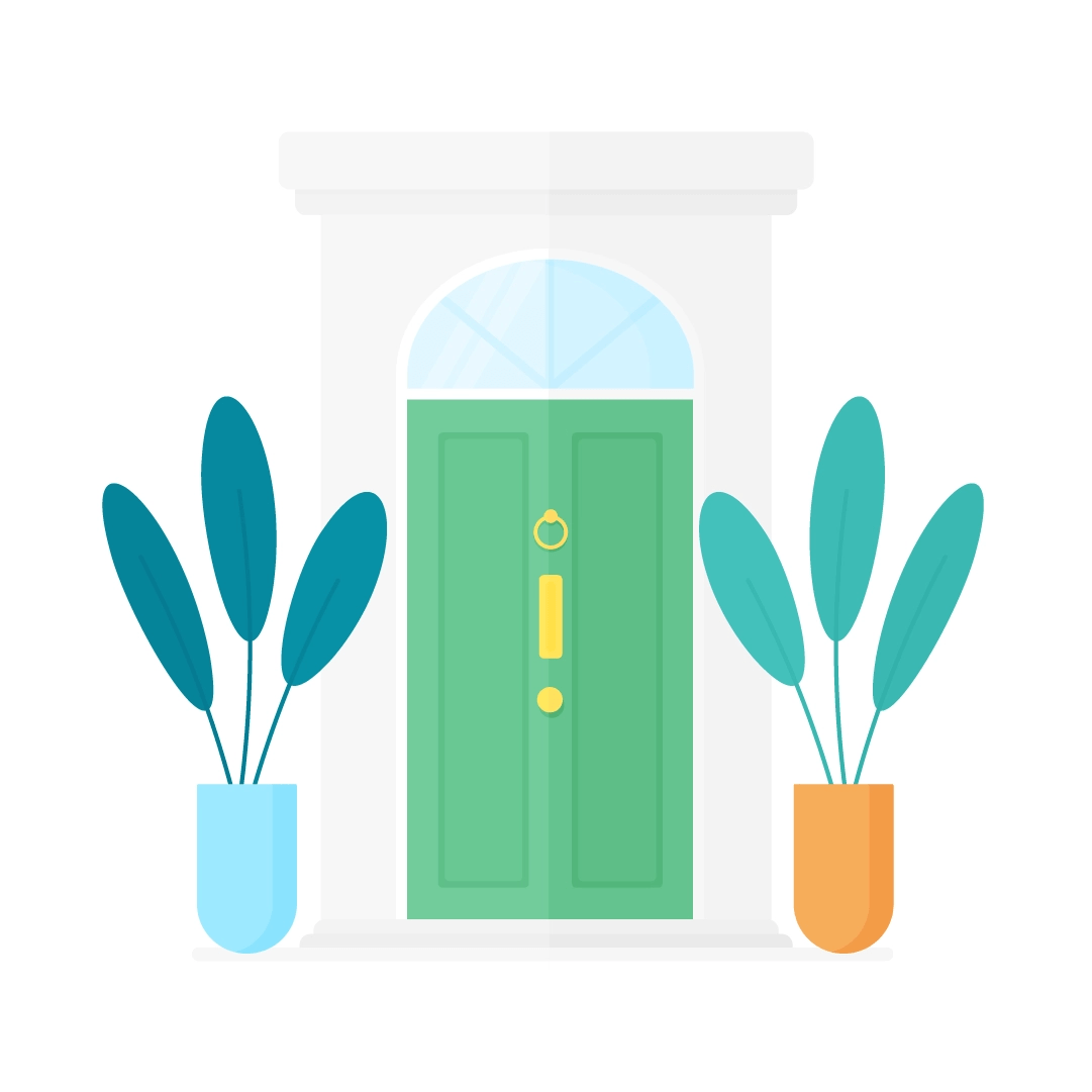 Vector illustration of a green Victorian style (UK) front doors with two potted plants in flat design style