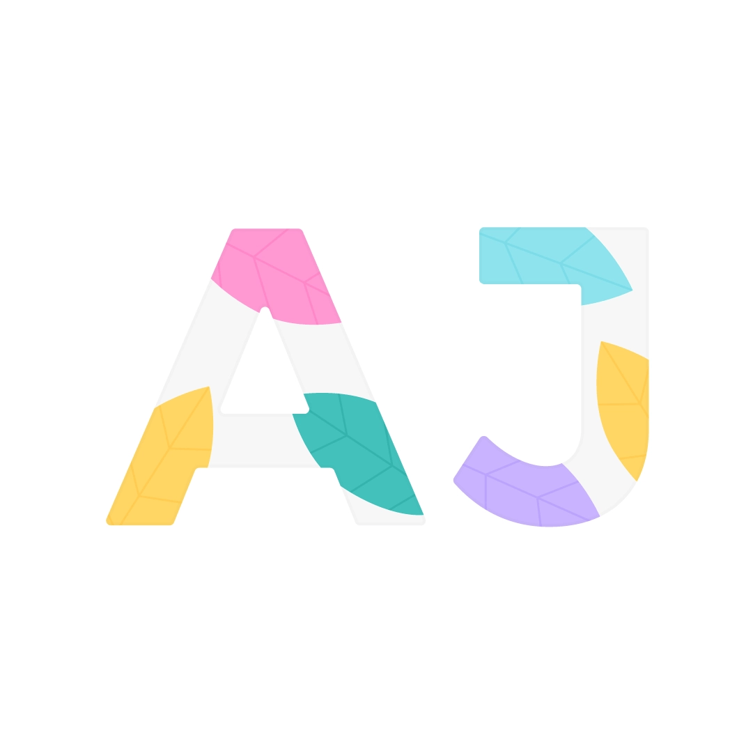 Vector illustration of AJ letters (initials) with foliage in flat design style