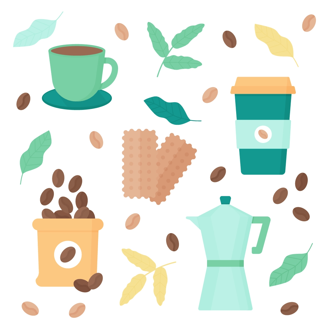 Vector illustration of a coffee pattern set - cup with saucer, biscuits, travel mug, a sack of coffee beans, Moka pot with coffee leaves in flat design style