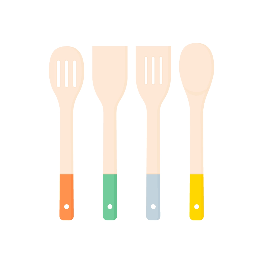 Vector illustration of a kitchen utensils set - slotted turner, solid turner, slotted spoon and solid spoon in flat design style