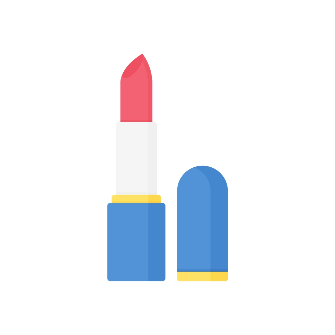 Vector illustration of a red lipstick with cap in flat design style