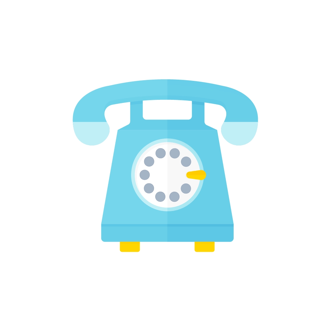 Vector illustration of a vintage telephone in flat design style