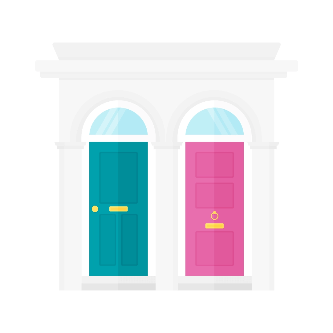 Vector illustration of a traditional British terrace house entrance - with teal & pink victorian style doors in flat design style