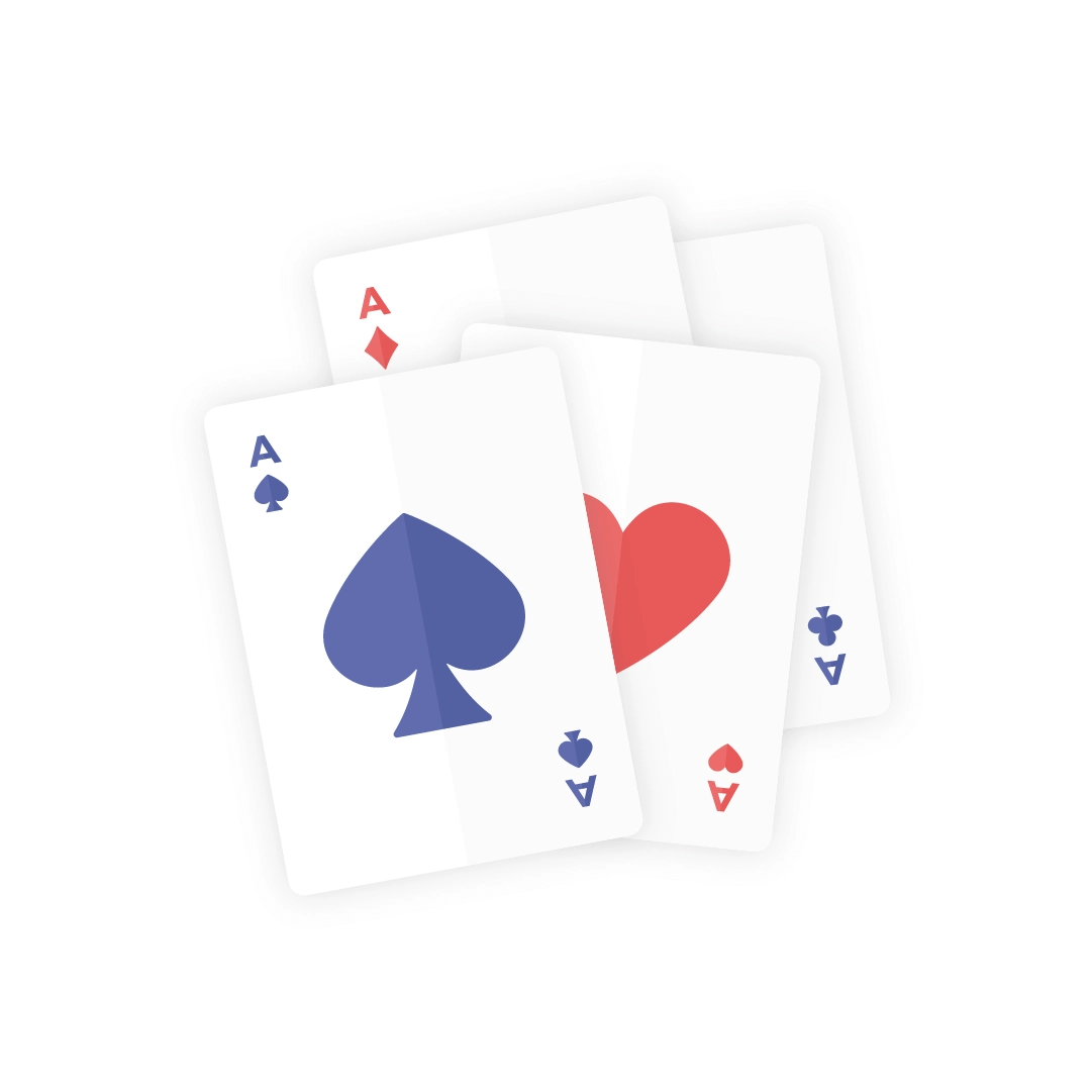 Vector illustration of a set of four aces - dark blue & red playing cards in flat design style