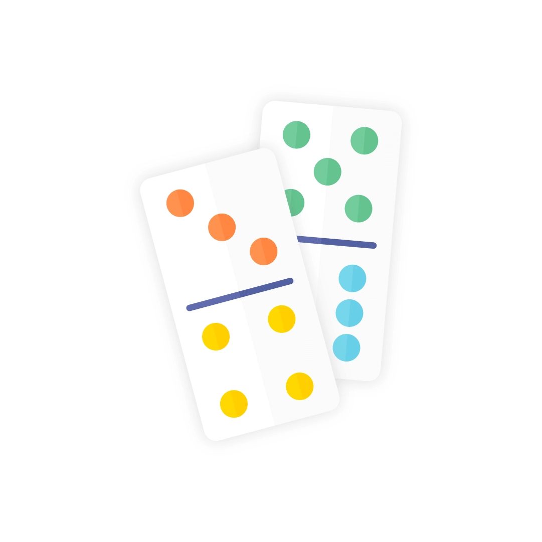 Vector illustration of a dominoes - domino tiles in flat design style