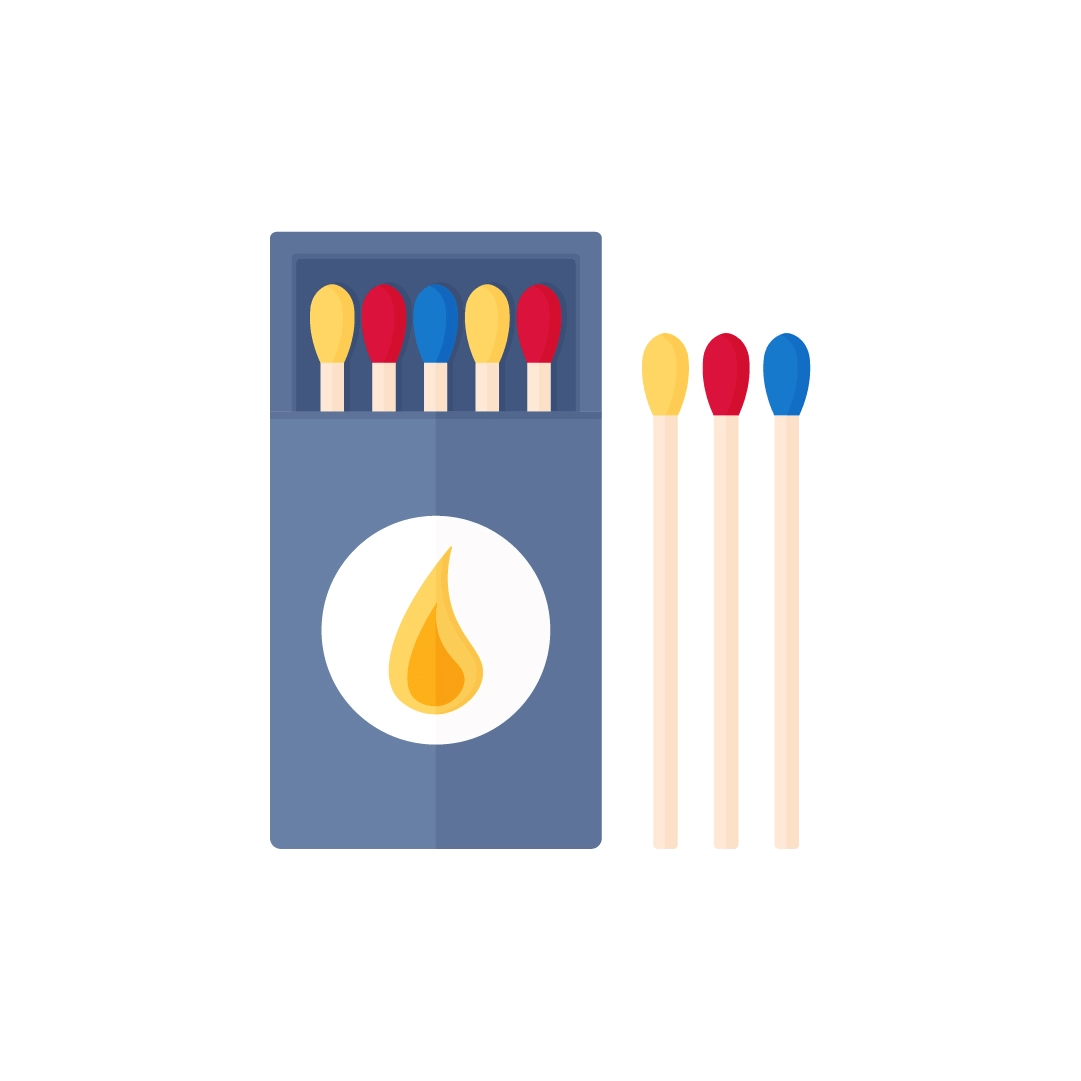Vector illustration of a box of matches in flat design style