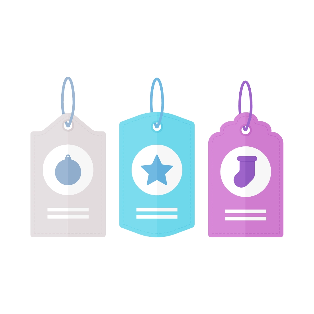 Vector illustration of Christmas gift tags - a bauble, star, Christmas stocking in flat design style