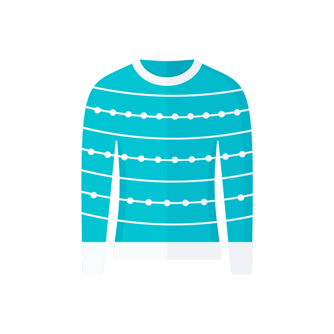 Vector illustration of teal Christmas jumper with ball strings in flat design style