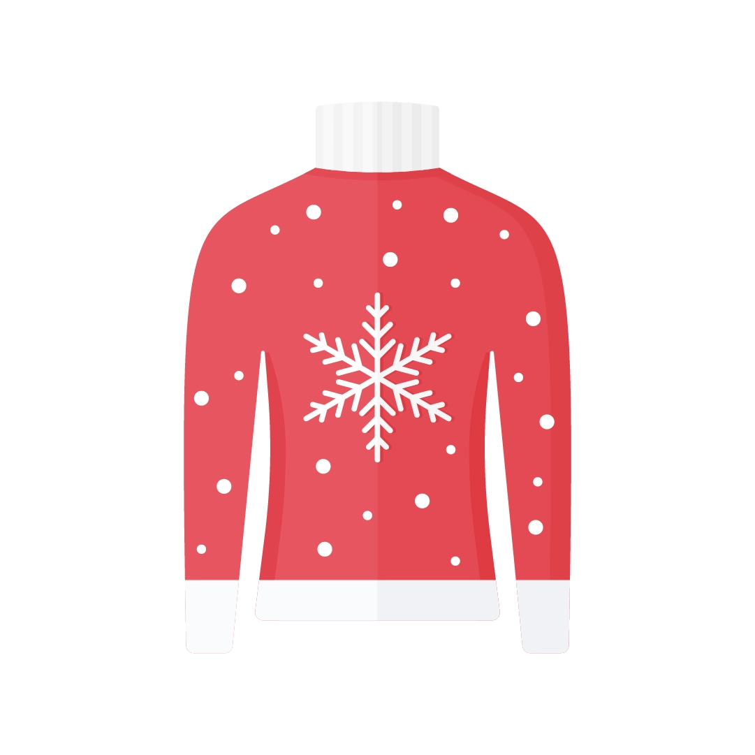 Vector illustration of red Christmas jumper with a snowflake in flat design style