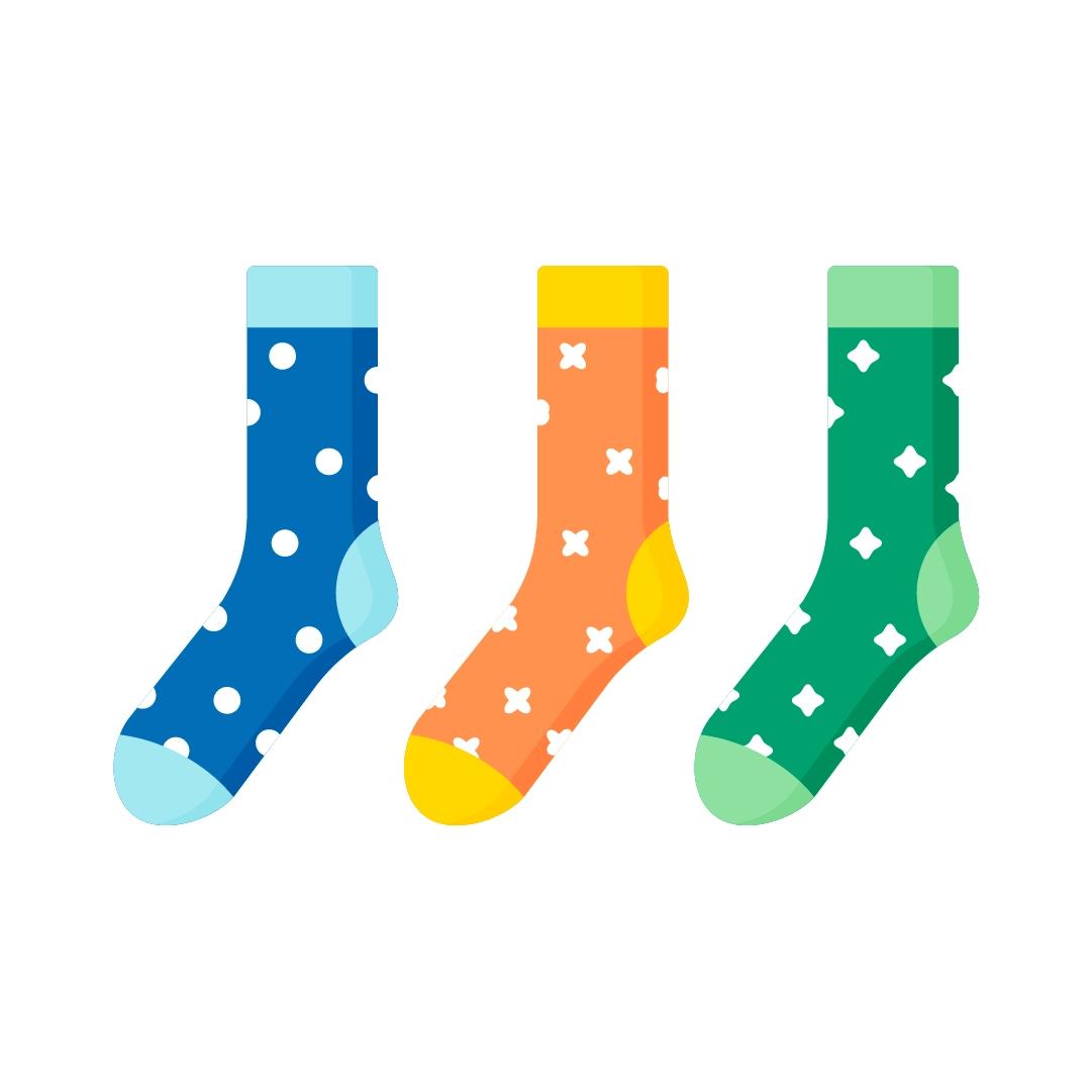 Vector illustration of Christmas socks in flat design style