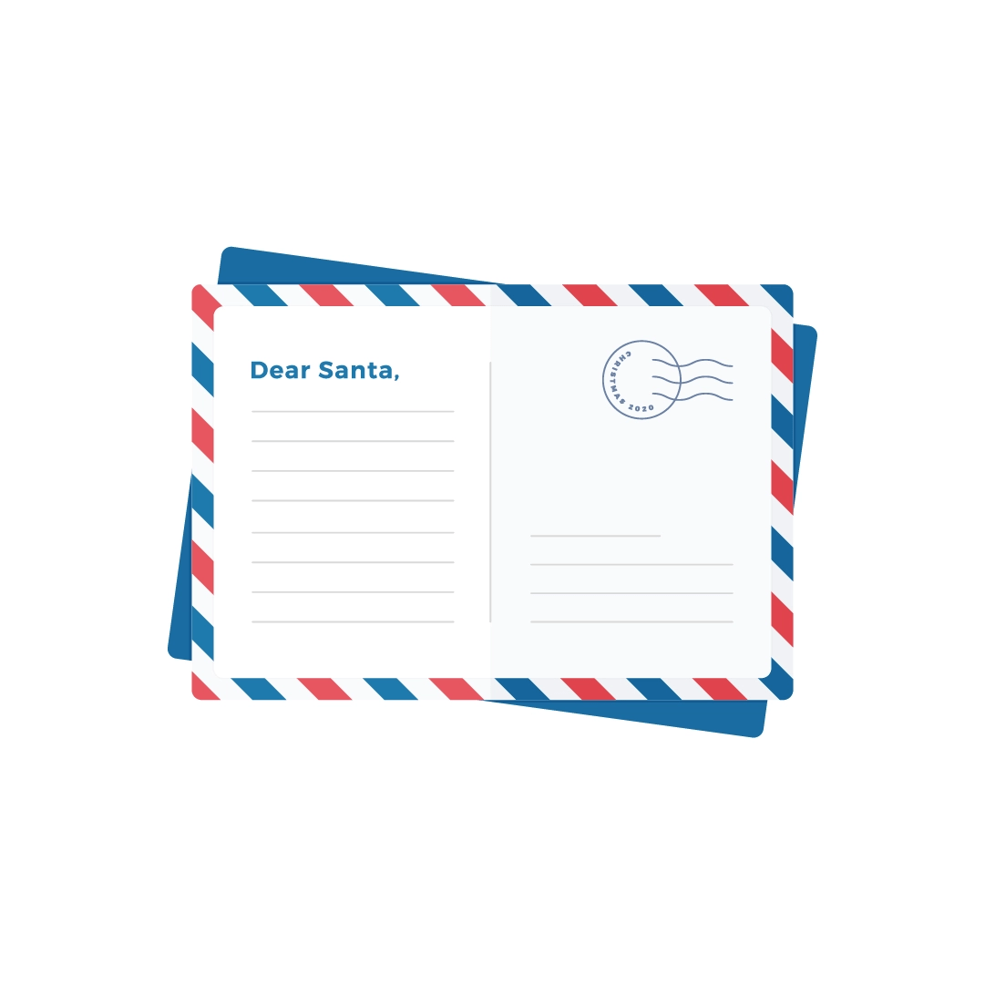 Vector illustration of a postcard to Santa in flat design style
