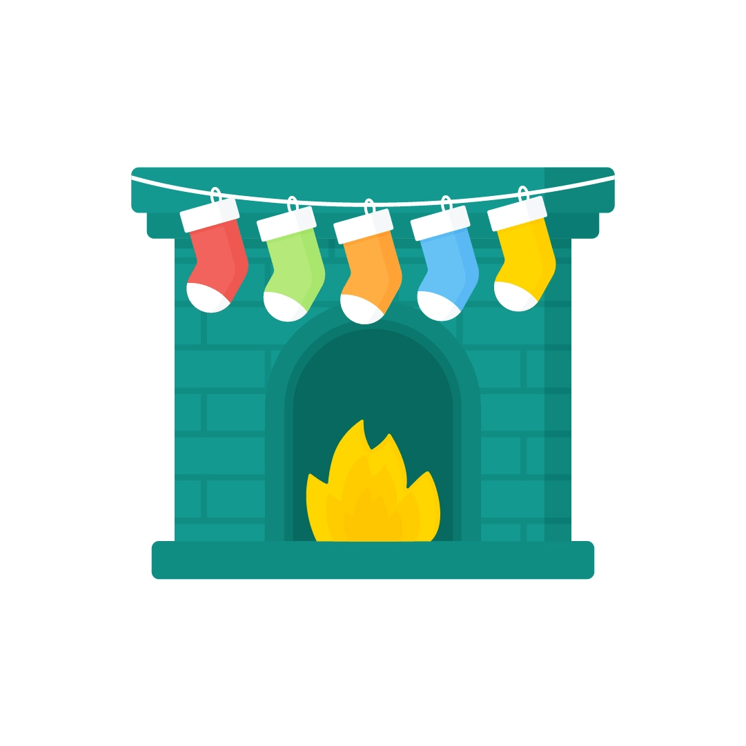 Vector illustration of Christmas fireplace with stockings in flat design style