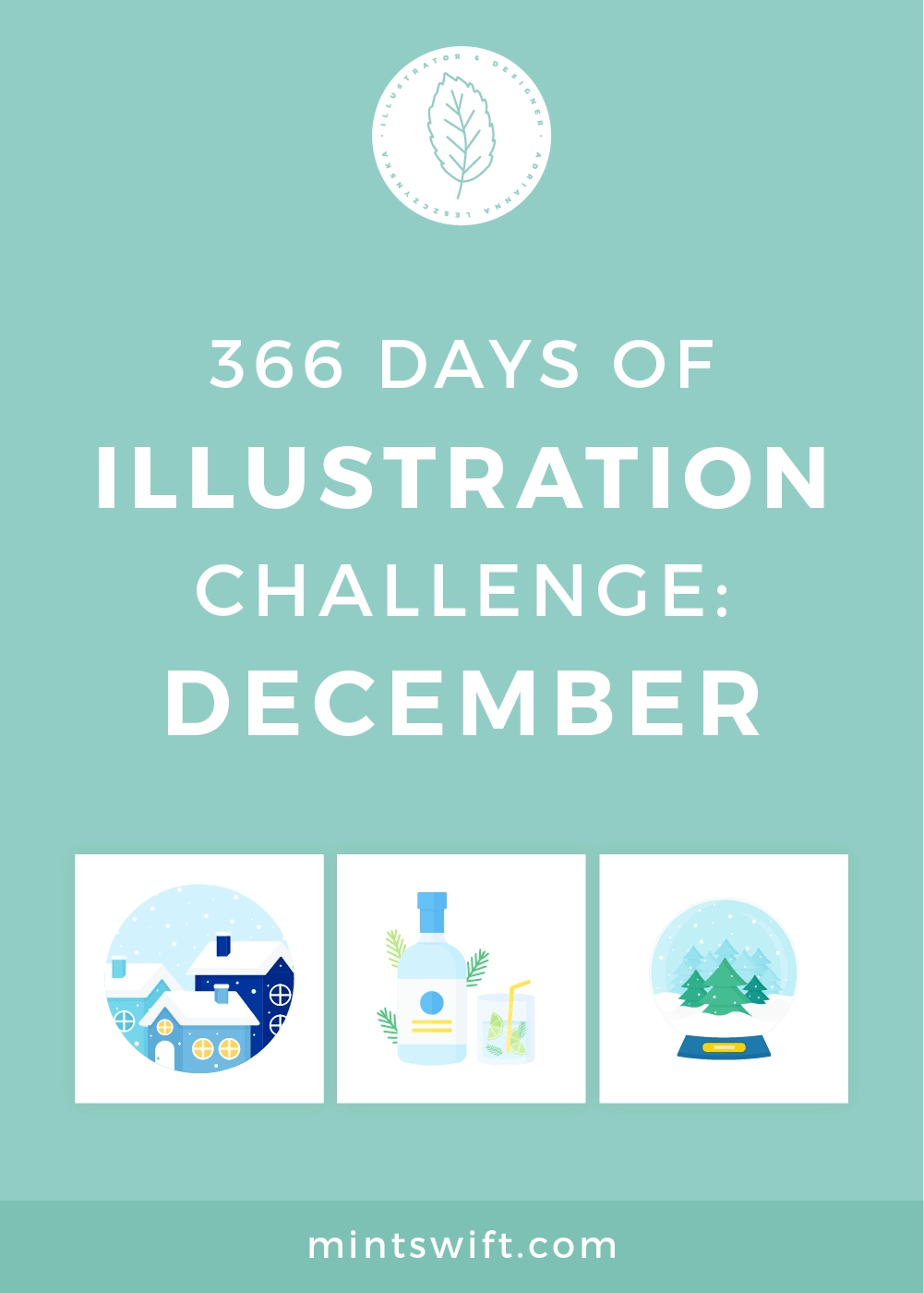 366 Days of Illustration Challenge - December by MintSwift. The twelfth (last) month of illustration challenge (day 336-366). Vector illustrations in flat design style about Christmas & Winter.