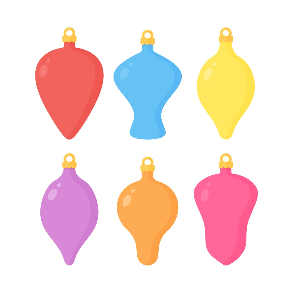 Flat illustration of Coloured Baubles in Various Shapes