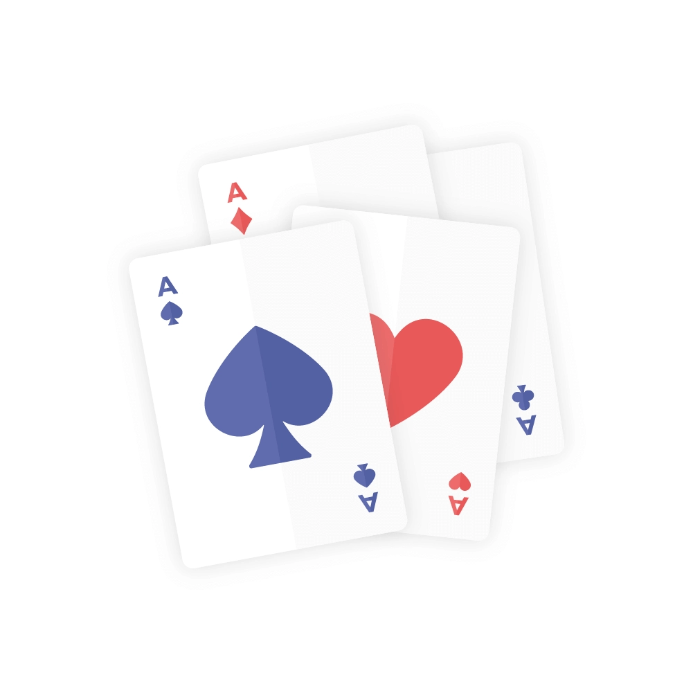 Flat illustration of Set of Four Aces - Dark Blue & Red Playing Cards