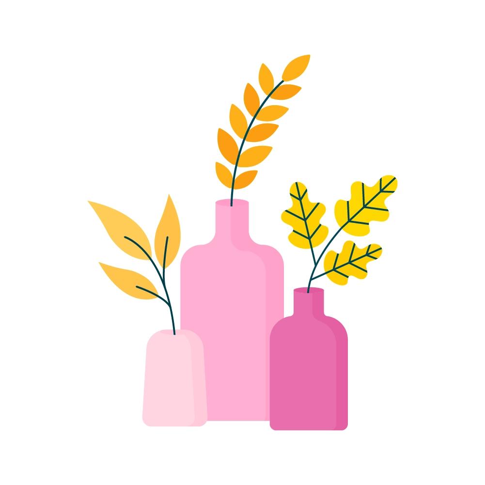 Three Pink Vases with Yellow Foliage - Mintswift - Adrianna Leszczynska