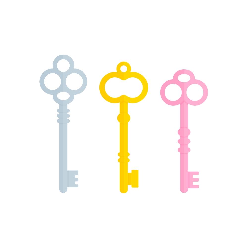 Flat illustration of Three Vintage Keys