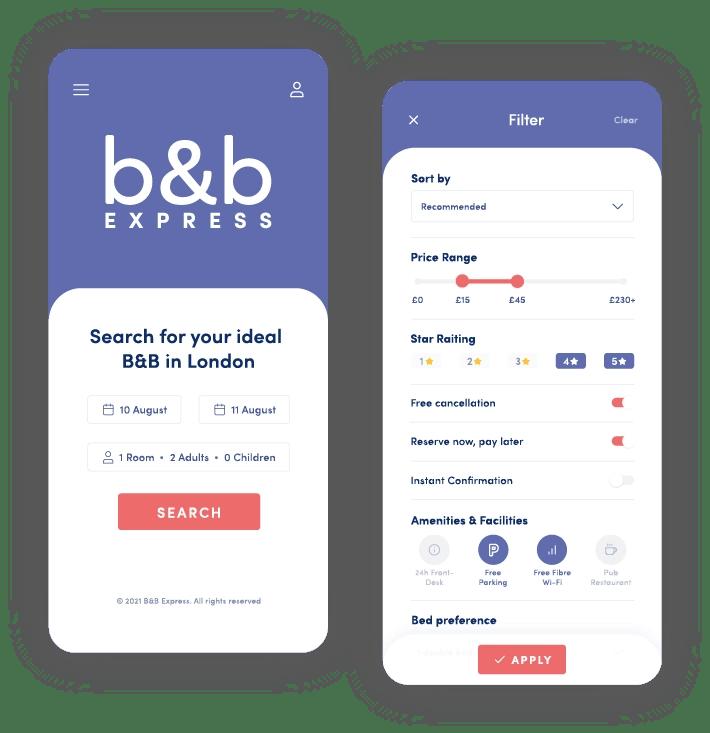 B&B Express - App Screens - MintSwift
