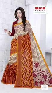 This cotton printed saree has a perfect colour combination and touch of elegance and charm.