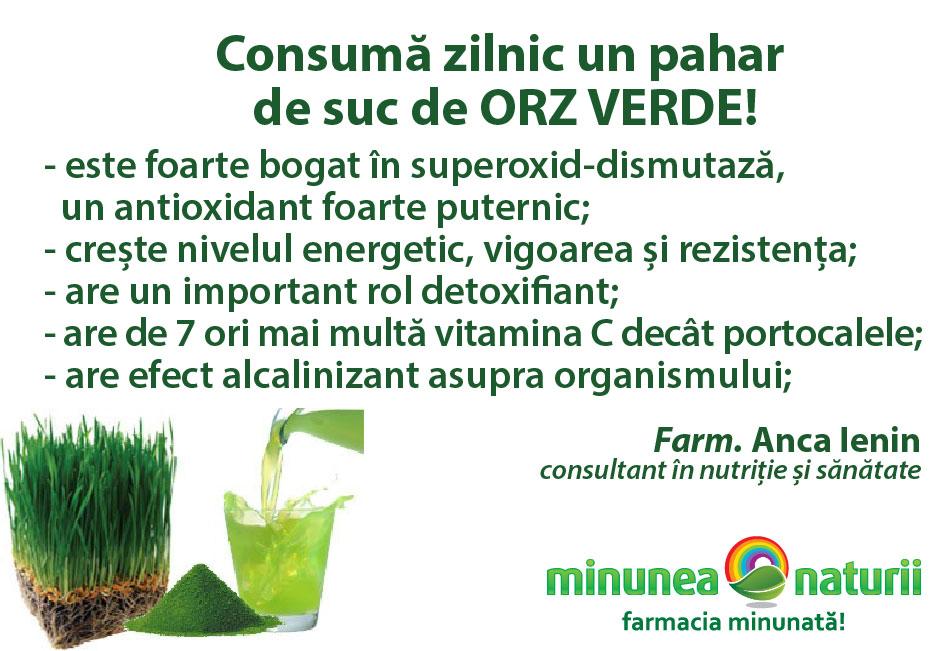 Orzul verde - Minunea Naturii - Farm. Anca Ienin - consultant in nutritie si sanatate